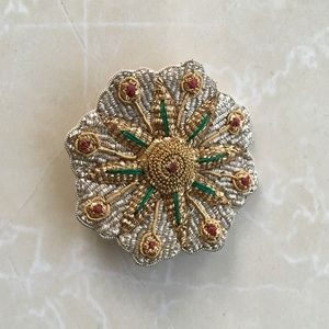 Silver, Gold, Red, Green Fabric Back Brooch India